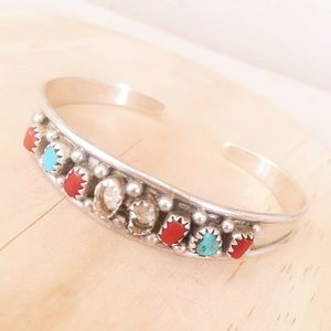 Sterling Silver Turquoise & Coral Bracelet As Is